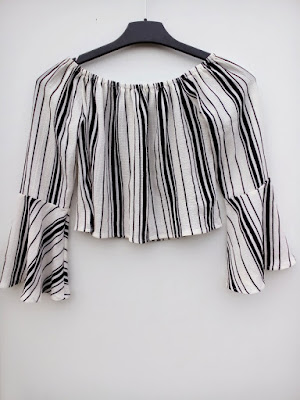 zaful, online shop, onlajn sajt, review, recenzija, stripes, pruge, cropped shirt, flared sleeves, off the shoulder, na jedno rame, ljeto, summer, proljeće, spring, fashion, moda,