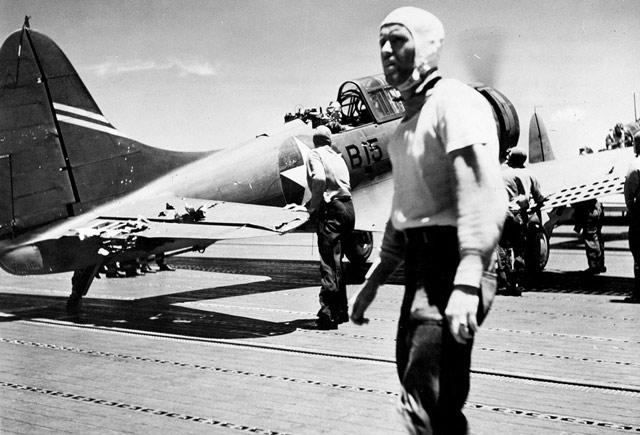 A damaged Douglas SBD, 4 June 1942 worldwartwo.filminspector.com