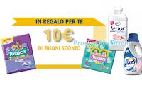 Logo Lenor Tocco di Purezza e Dash Baby ti regalano un buono Pampers da 10€ come premio certo!