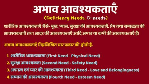 अभाव आवश्यकताएँ (Deficiency Needs, D-needs)