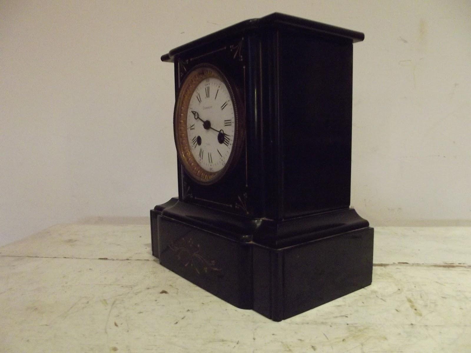 Favori pendule marbre noir napoléon III ancien mécanisme d'horlogerie clé  OK02
