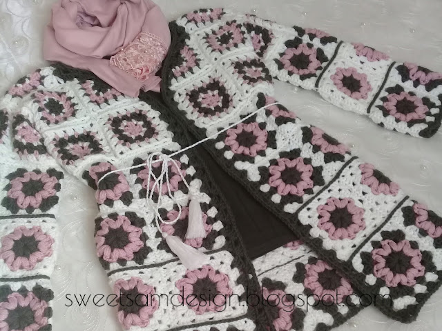 graphic about Free Printable Crochet Granny Square Patterns titled ROSE Granny Sq. Cardigan Practice - سويتي