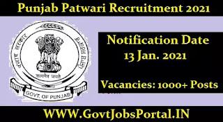 Revenue Department Punjab Recruitment for 1152 Patwari Posts 2021