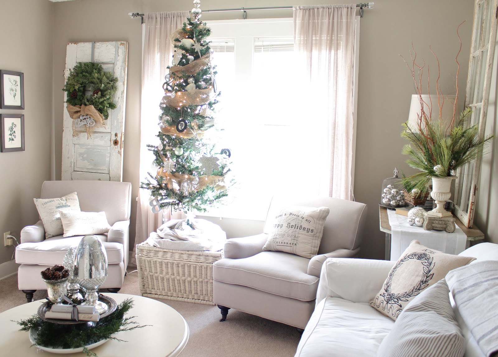 12th and white our christmas living room part 2 - How to decorate a small living room for christmas ...