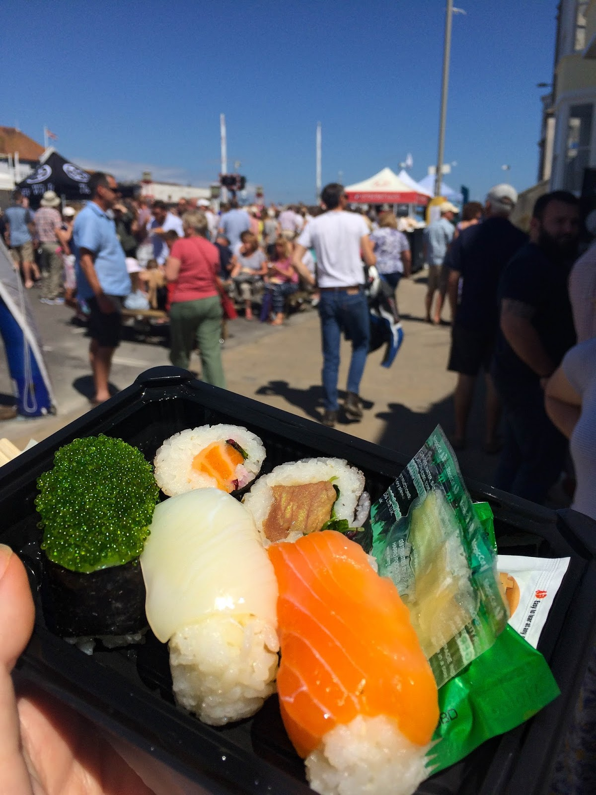 Pommery Dorset Seafood Festival in Weymouth, sushi, street food, food bloggers, lifestyle bloggers
