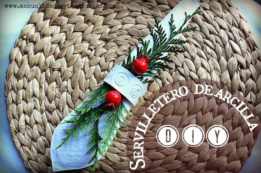 servilletero hecho con pasta de modelar secado al aire