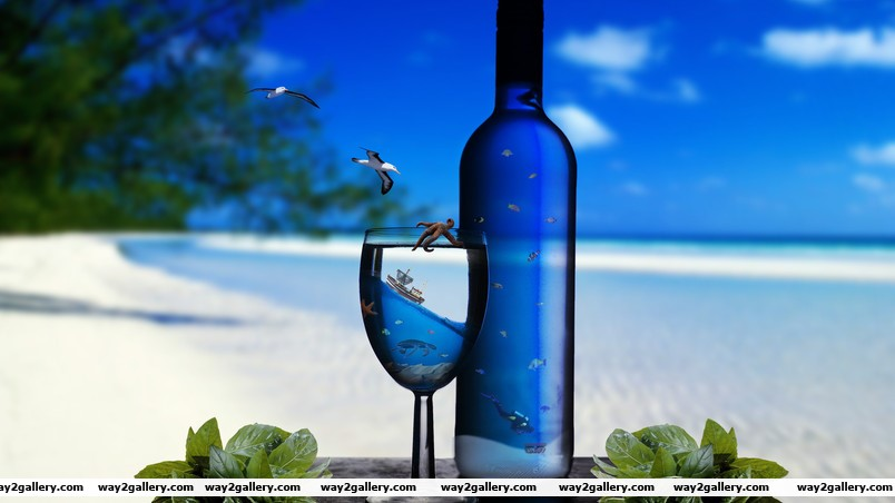 Bottle and glass wallpaper