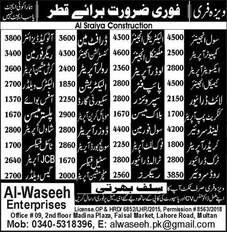 Urgent Staff required in Qatar in Al Waseeh Enterpries14 Feb 2018