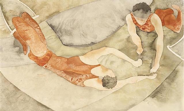 Charles Demuth (1883–1935) Deux trapézistes en rouge, 1917, auqurelle, Barnes Foundation Philadelphia,