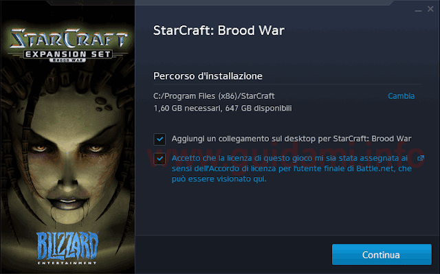 Finestra download di StartCraft con Espansione Brood War inclusa