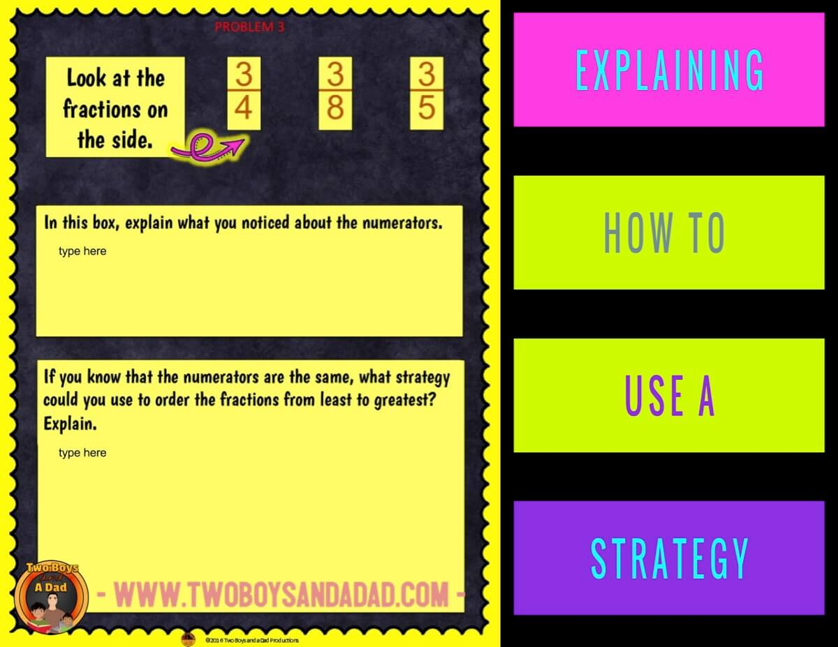 comparing fractions using Google Slides explaining your thinking