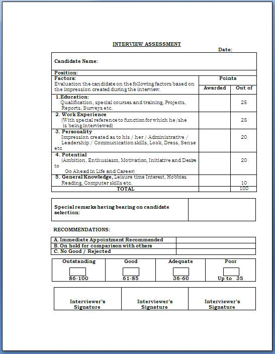 Doc650414 Interview Evaluation Form 5 Best Interview – Interview Evaluation Forms