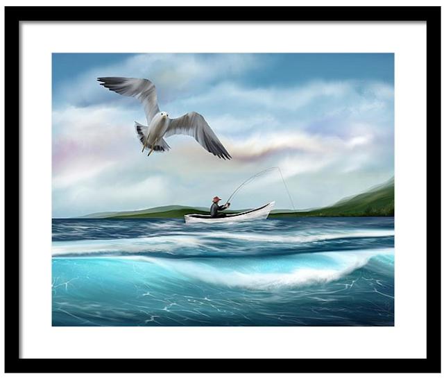 gone fishing, art, seascape art, seagull art, fishing art, fine art america
