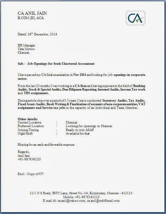 Job Application Letter Via Email