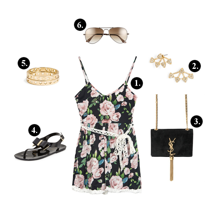 Romper outfits, Romper outfit ideas, Walktrendy romper, Saint Laurent Bag, Michael Kors Sandals, Baublebar Bangles, Ray Ban Sunglasses, BaubleBar Earrings