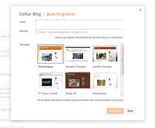 Isikan judul, Alamat blog yang di inginkan dan pilih Template