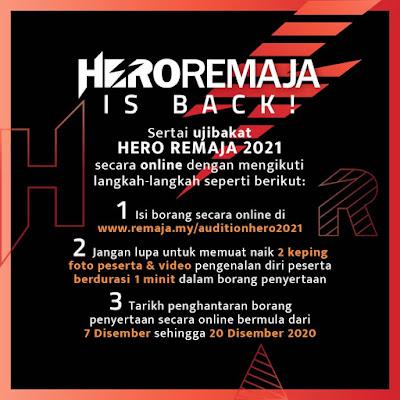 Jadual Ujibakat Hero Remaja 2021 (Tarikh)