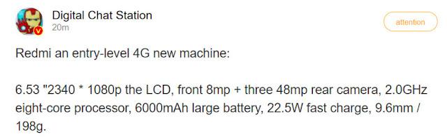 تسريب مواصفات Redmi Note 10 4G قادم ببطارية 6000 مللي أمبير وكاميرا ثلاثية بدقة 48 ميجابكسل .