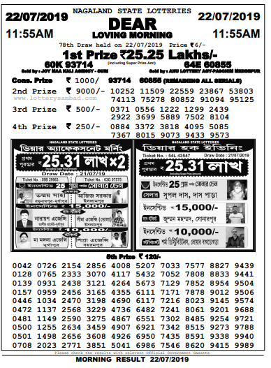Dear Loving Morning,Nagaland State Lottery