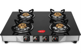Pigeon Ultra Glass Top 4 Burner Gas Stove For Rs 2999 (Mrp 7490) at Flipkart