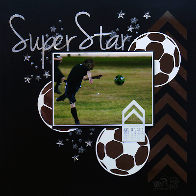 Layout using #Silhouette #Cameo by Tonya Gibbs.  #Sports #Soccer #TonyaGibbs #ArtsyAddicts #Masculine #Monochoromatic #layout #Scrapbook #12x12