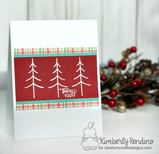 Christmas Tree Thank you card by Kimberly Rendino| Inky Paws Challenge 38 | Festive Forest Stamp Set by Newton's Nook Designs #newtonsnook