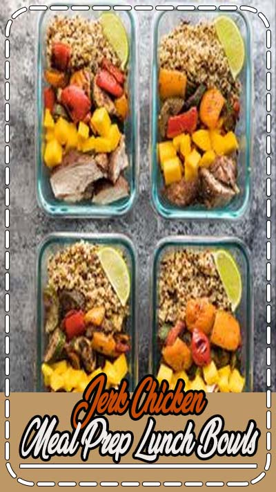 Jerk Chicken Meal Prep Lunch Bowls: bring a taste of the tropics to work with you! These lunch bowls are sweet and spicy, and packed full of healthy veggies and quinoa to power you through your afternoon.