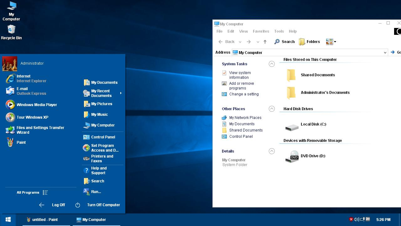 How can i use Windows 10 theme on Windows XP