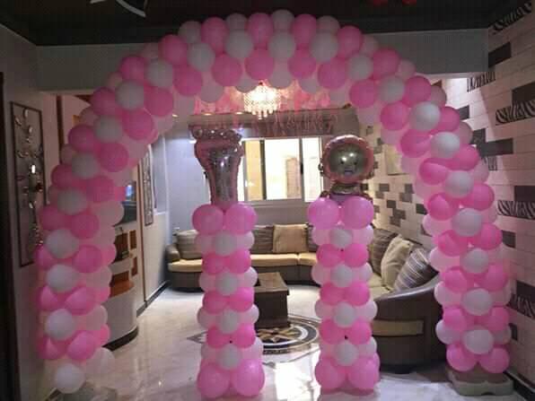Decoração Com Balões Rosa e Branco