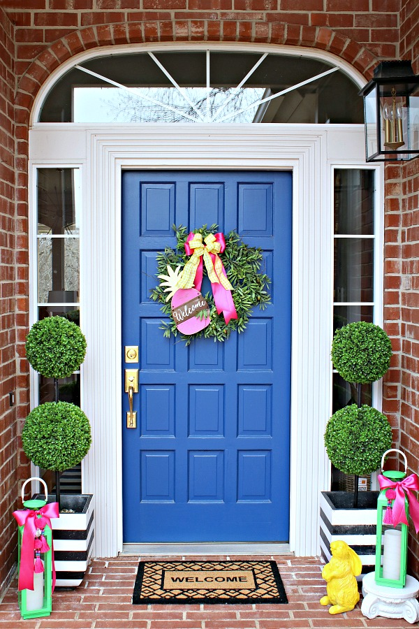 faux boxwood topiary, Dignity Blue Sherwin Williams