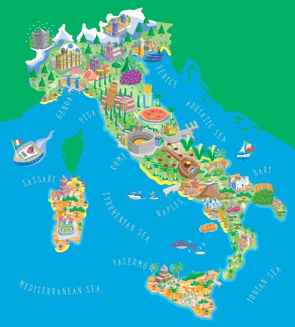 خريطة ايطاليا السياحية