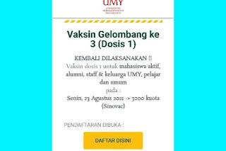 Daftar Vaksin Gratis di UMY Yogyakarta 23 Agustus, Berikut Link Pendaftaran https://vaksin.umy.ac.id/