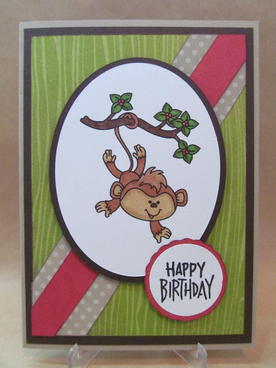 savvy handmade cards cute monkey birthday card