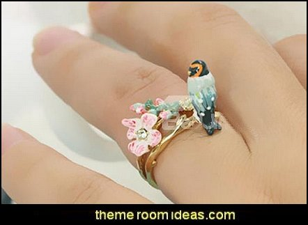 Bird and Flower Design Enamel Glaze Ring  Fashion Jewelry - Costume jewelry - Fashion Necklaces - costume jewelry - Bargain prices - affordable dress jewelry - colorful jewels necklaces for women -  beaded necklaces - womens jewellery Rhinestones Crystals