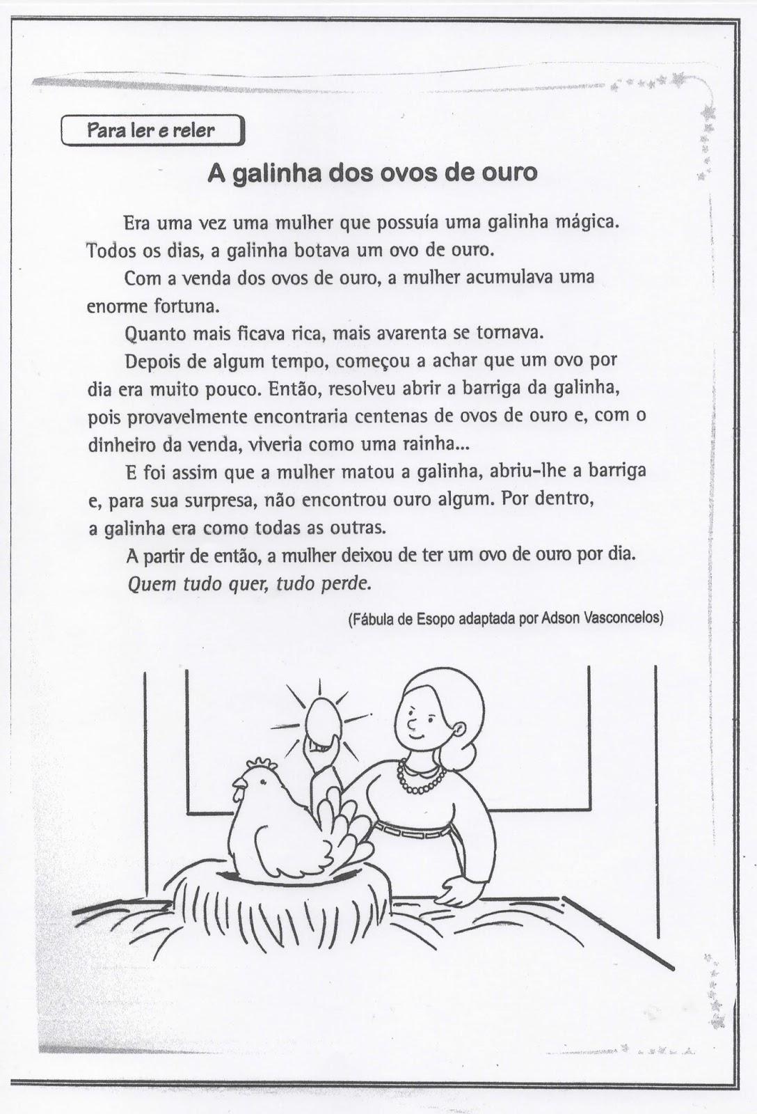 A Galinha Dos Ovo De Ouro Para Colorir atividades para colorir infantil: fábula a galinha dos ovos