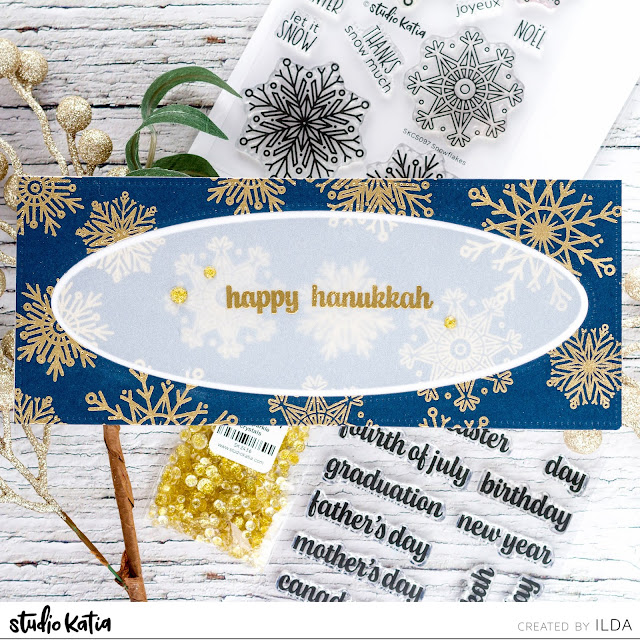 Snowflakes, Background, Slimline, Holiday Cards, Studio Katia,Christmas,Hanukkah, Happy Celebrations, Card Making, Stamping, Die Cutting, handmade card, ilovedoingallthingscrafty, Stamps, how to,  blue, gold,Chunky Alphabet,