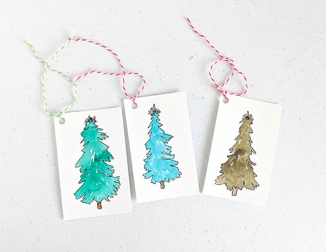 Make your own watercolor christmas gift tags