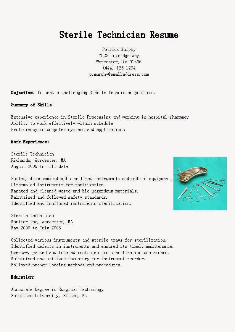 resume samples  sterile technician resume sample