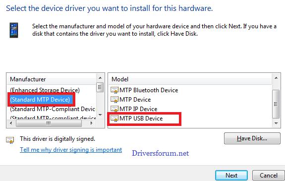 MTP USB Driver for Windows 7 64 Bit