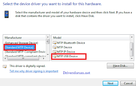 MTP USB Driver for Windows 7 64 Bit