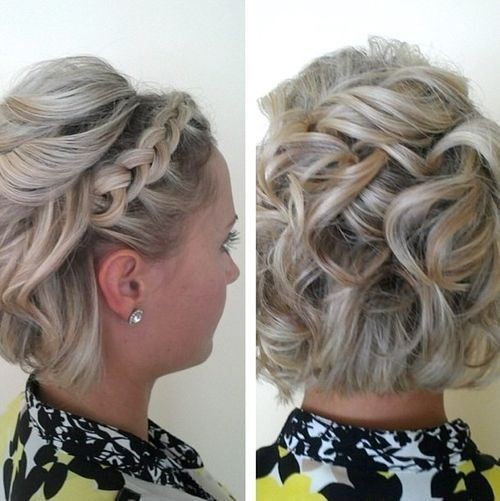Curly Bob With A Lace Braid Prom Short Waterfall Ends Hair