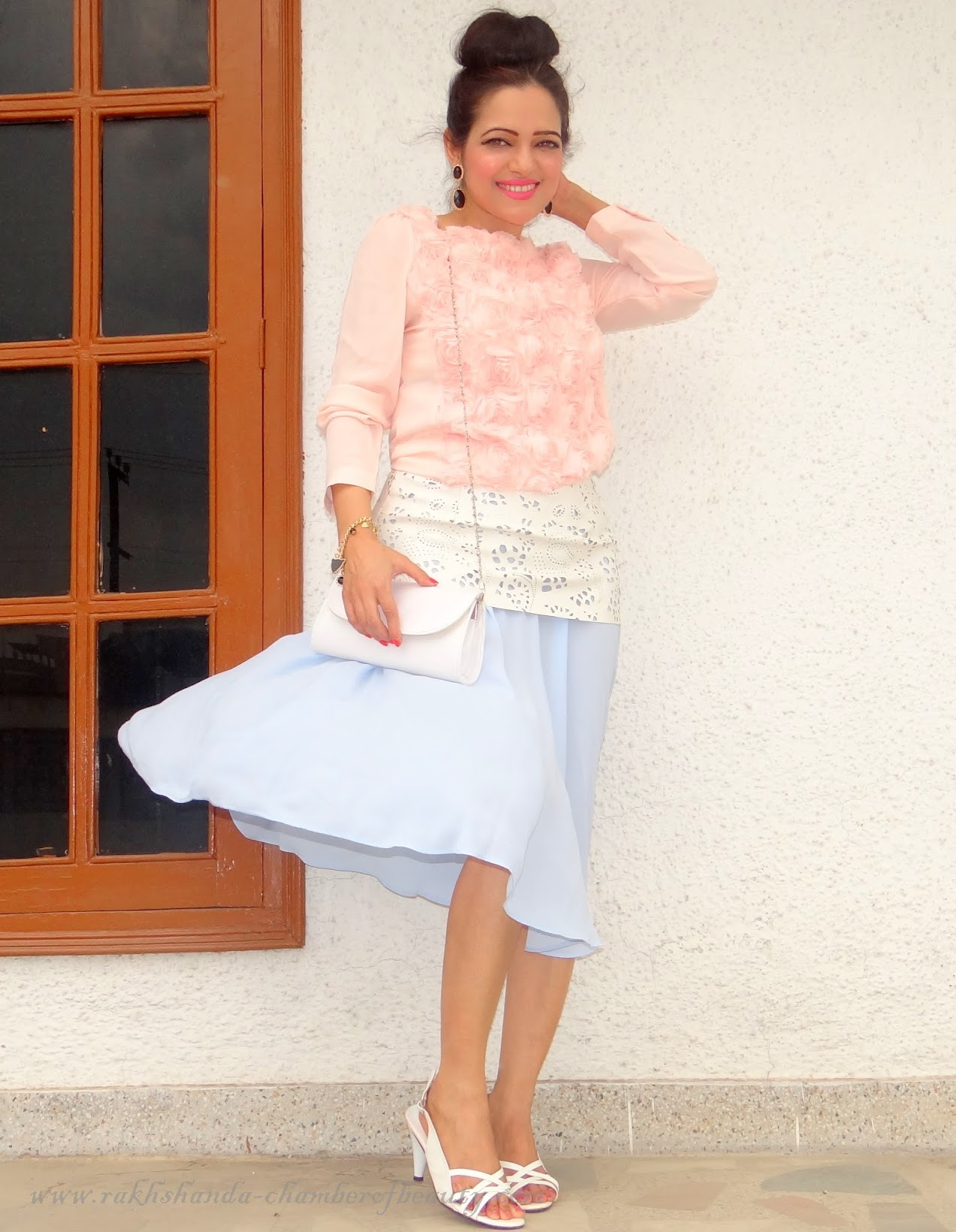 Gone with the wind- OOTD   How to style a pleated midi skirt, Front Row Shop, Outfit of the day, Indian Fashion blogger, Chamber of Beauty