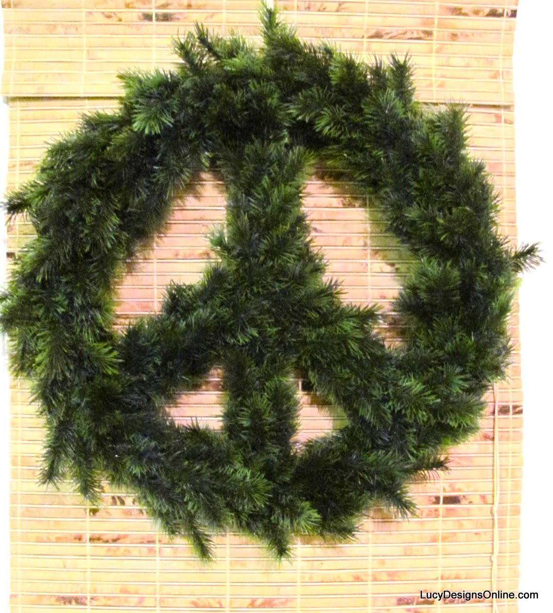 diy peace sign Christmas garland wreath