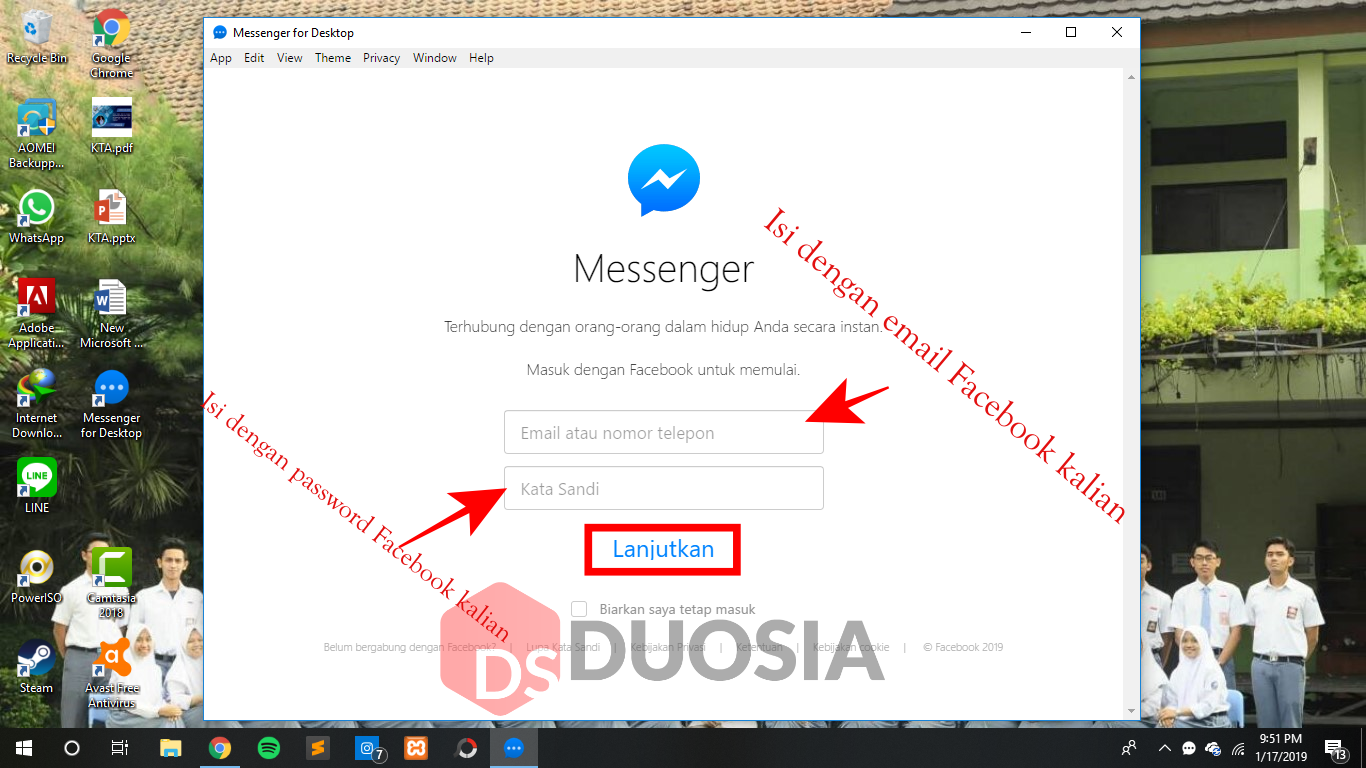 cara download messenger