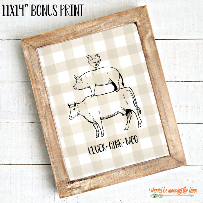 Cluck Oink Moo Printable