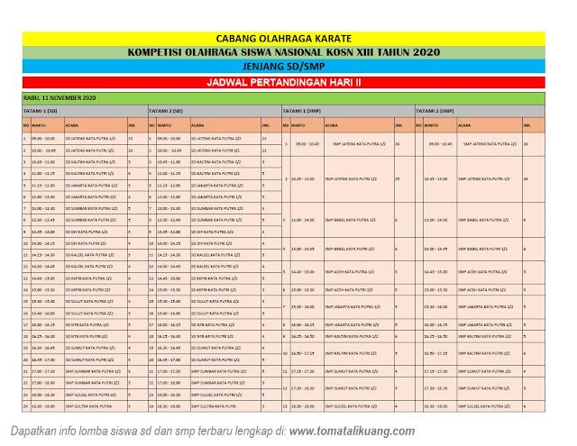jadwal hari kedua babak penyisishan kosn sd smp tahun 2020 tomatalikuang.com
