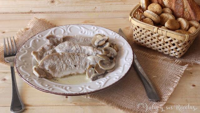 Lomo con champiñones. Julia y sus recetas