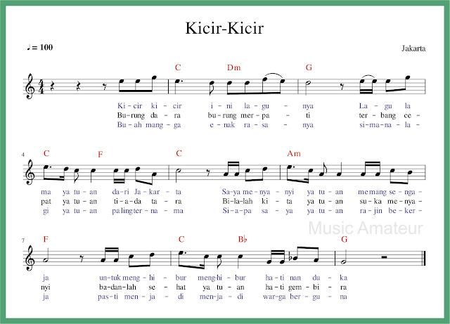 Naskah Lagu Kicir Kicir dengan notasi lagi