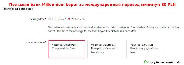 Польский банк Millennium берет за международный перевод минимум 80 PLN