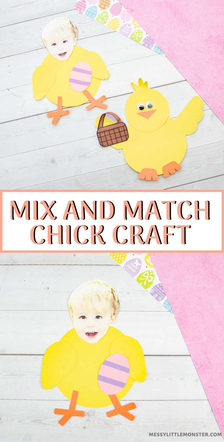 Mix and match paper chick craft for kids with printable chick template